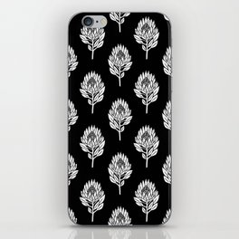 Linocut Protea flower printmaking pattern black and white floral iPhone Skin