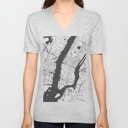 New York City White on Gray Street Map Unisex V-Neck