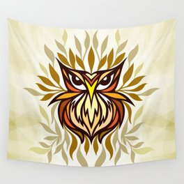 Staring Owl - Creative Tribal Style Mirror Graphic of Bird Wall Tapestry