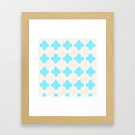 Quatrefoil - cream and arctic Framed Art Print