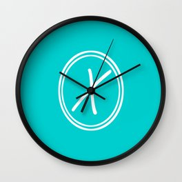 Monogram - Letter X on Cyan Background Wall Clock
