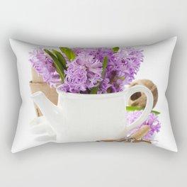 Beautiful Hyacinths in vase and garden tools Rectangular Pillow