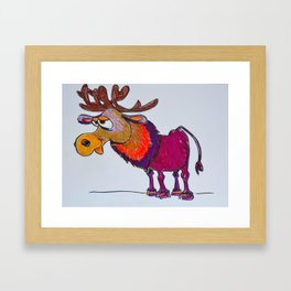 cartoon moose Framed Art Print