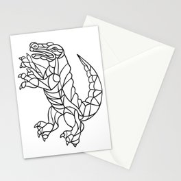 Alligator Prancing Mosaic Black and White Stationery Cards