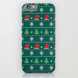 Ugly Christmas Trees Sweater Pattern iPhone Case