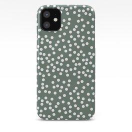 Dark Gray Green and White Polka Dot Pattern iPhone Case