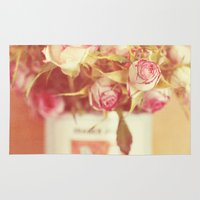 roses Area & Throw Rugs featuring roses by Beverly LeFevre