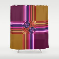 Purplish-Red and Gold Colorblock Abstract Shower Curtain