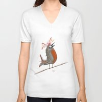 birdy V-neck T-shirts featuring Birdy by Tim Cornwall