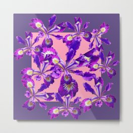 Decorative Pink Abstract Purple dutch  Iris Floral Garden Metal Print