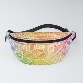 Bright Gradient (Hot Pink Orange Green Yellow Blue) Geometric Pattern Print Fanny Pack