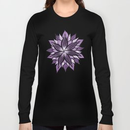 Purple Mandala Like Abstract Flower Long Sleeve T-shirt