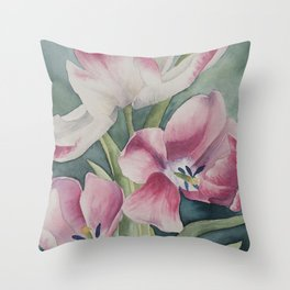 Bursting Tulips Throw Pillow