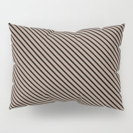 Warm Taupe and Black Stripe Pillow Sham