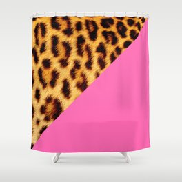Leopard skin with hot pink II Shower Curtain