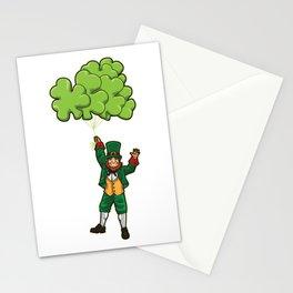 Leprechaun With Cloverleaf Balloons - Irish Fly Stationery Cards