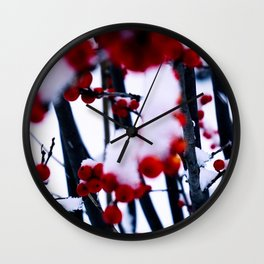 snow storm and berries Wall Clock