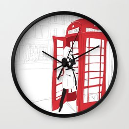 London Calling Fashion Phone Booth Girl Wall Clock