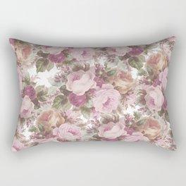 Vintage blush pink burgundy roses floral painting Rectangular Pillow