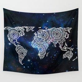 Galaxy Mandala World Map Wall Tapestry