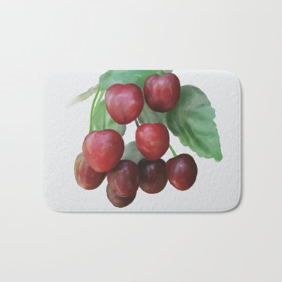Sour Cherry, watercollor Bath Mat