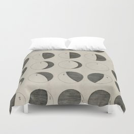 Antique Moon Phases Chart Duvet Cover