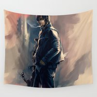 daryl dixon Wall Tapestries featuring DARYL DIXON - THE WALKING DEAD by AkiMao