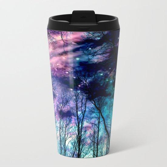 Black Trees Colorful SpacE Metal Travel Mug