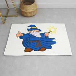 Blue wizard cartoon Rug