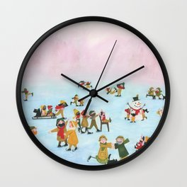 A Cold winter day - A Illustration of people spending there day iceskating Wall Clock