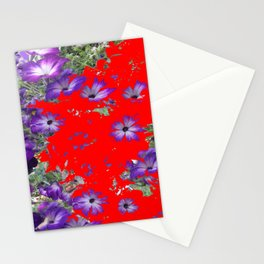 RED ABSTRACT OF  PURPLE PETUNIAS ART Stationery Cards