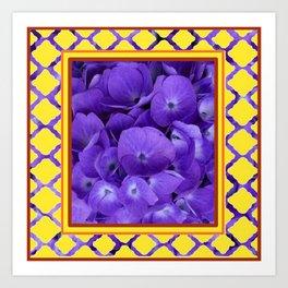 Interior Design Purple Floral Yellow Lattice Art Print