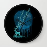 dna Wall Clocks featuring DNA Deer by Jorge Garza