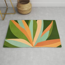 Colorful Agave / Painted Cactus Illustration Rug