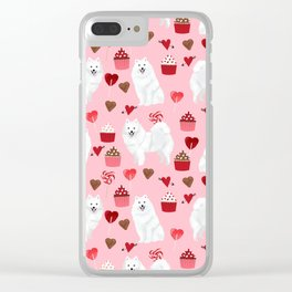 Japanese Spitz cupcakes valentines day pure breed dog pattern pet gifts for dog lovers Clear iPhone Case