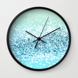 Seafoam Aqua Ocean MERMAID Girls Glitter #2 #shiny #decor #art #society6 Wall Clock
