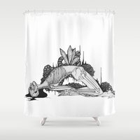 skeleton Shower Curtains featuring Skeleton by Sushibird