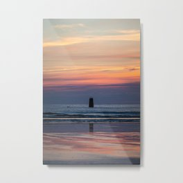 Sunset over the sea in Brittany Metal Print