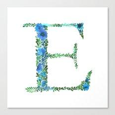 Floral Monogram Letter E Canvas Print