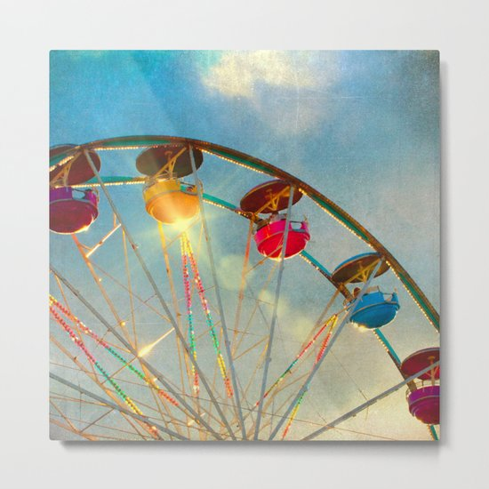 Light up the Sky carnival ferris wheel  Metal Print