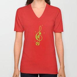 Treble clef and birds Unisex V-Neck
