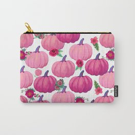 pink pumpkin fall watercolor, Thanksgiving Carry-All Pouch