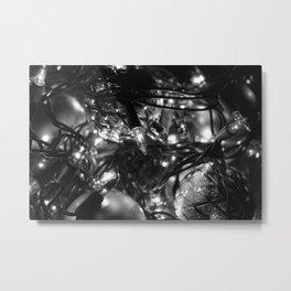 Christmas Lights B&W Metal Print