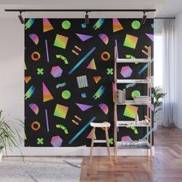 Neon Gradient Postmodern Shapes Wall Mural