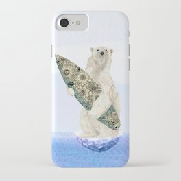 Polar bear & Surf (black) iPhone Case