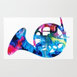 Colorful French Horn 2 - Cool Colors Abstract Art Sharon Cummings Rug