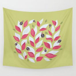 Pretty Plant With White Pink Leaves And Ladybugs Wall Tapestry