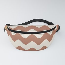 Cavern Clay SW 7701 and Creamy Off White SW7012 Wavy Horizontal Rippled Stripes Fanny Pack