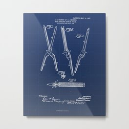 Hair Curling Iron or Tongs Vintage Patent Hand Drawing Metal Print
