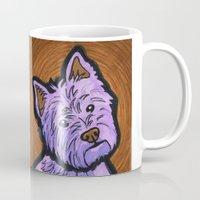 westie Mugs featuring Purple Westie by Gianna Brucato